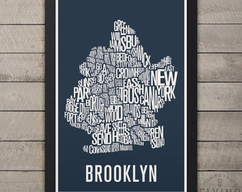 BROOKLYN NYC Neighborhood Typography Map Print