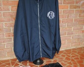 Monogrammed Zip-Up Rain Jacket
