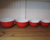 4 Bright Red Hall Kitchenware Mixing Bowls, Vintage Kitchen, Retro
