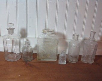 Lot of 6 Vintage Glass Bottles, Murine, Listerine, French Cologne, Honey, Collectible