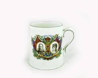 ON SALE Antique King George V Silver Jubilee mug, royal souvenir, Stanley China commemorative mug