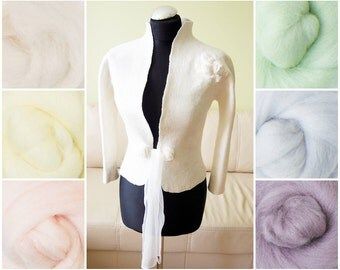 Bridal bolero jacket Cashmere feeling - a Royal sense in colors - felted wool and silk