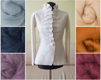 Felted jacket with wavy collar in colors - softest merino wool - felted - soft as a cashmere