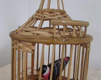 Wicker Bird Cage Wood Folk Art Bird in Cage