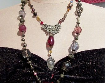 Double Layer Necklace Cranberry Glass Beads Brass Filigree Beads Assemblage Statement Necklace