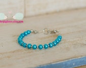 Aqua Blue Aqua Glass Imitation Faux Pearl Beads Bracelet