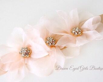 Blush Pink Organza Bridal Sash, Blush Bridal Sash, Blush Organza Wedding Belt, Blush Pink Bridal Belt