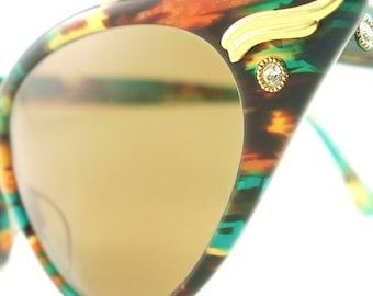 Vintage Cat Eye Glasses Eyeglasses Sunglasses New Frame Eyewear Marbled Emerald Green And Browns