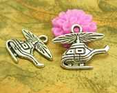 20 pcs Antique Silver Helicopter Charms 19x16mm CH2298