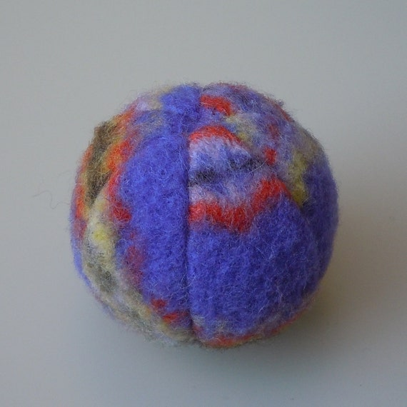 Purple Felted Lambs Wool Catnip Ball Cat Toy