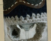 Handmade Ready to Ship 0-3 month Crochet Aviator two tone hat in navy and linen.  Attached leather like goggles.