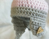 Handmade Ready to Ship 0-3 months Crocheted Baby hat in soft pink and LINEN.  Wood heart button.  Ready to Ship.