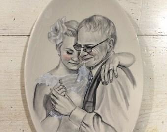 Oval plate, Custom hand painted portraits on ceramic