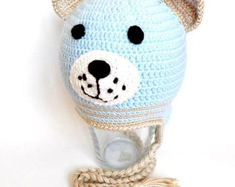 "Crocheted  baby hat , ""Bear"" baby hat, hat  with earflaps,  light blue baby hat, READY TO SHIP"