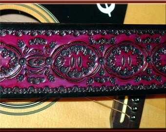 DARK RED MANDALA Design • A Beautifully Hand Tooled, Hand Crafted Leather Guitar Strap