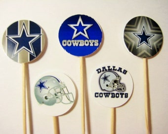 15 Dallas Cowboys Football Party Picks - Cupcake Toppers - Toothpicks - Food Picks -  FP582