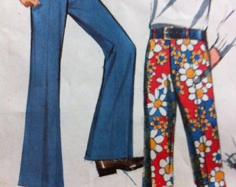 Vintage 70s McCalls No. 2263 Size 7 Boys Bell Bottom Pants Vintage Bell Bottom Slacks 60s -70s style Bell Bottoms Hip Hippie Look
