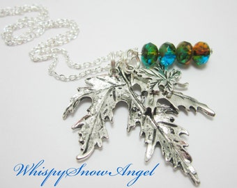 Maple Leaf Necklace Fall Jewelry Autumn Chain Large Maple Leaf Pendant You Choose Color of Beads Silver Plate Chain