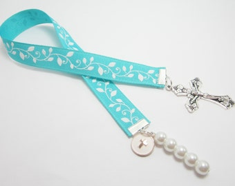 Christian Ribbon Bookmark Confirmation Baptism Gift Aqua Blue Ribbon Large Cross Charm White Glass Pearls White Vines