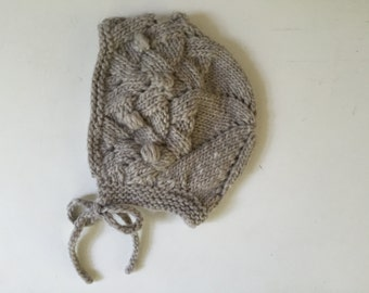 Baby Bonnet - Organic Hand Knit - Taupe Gray - 1 yr old - 12 months - Baby Girl Hat - Eco Friendly - Ready to Ship
