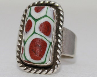 African Trade Bead set in Sterling Silver Ring