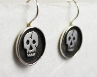 "1/2 "" Day of the Dead Skull Earring Sterling Silver"