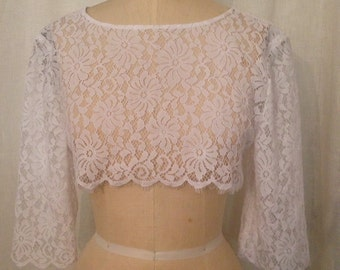 White Chantilly Lace Cropped Topper