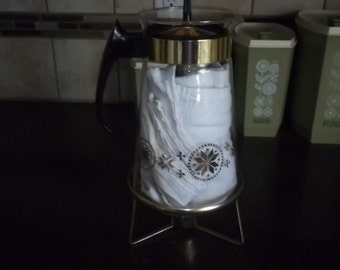 Vintage Pyrex Coffee Carafe with Atomic Gold Flame design and candle warmer