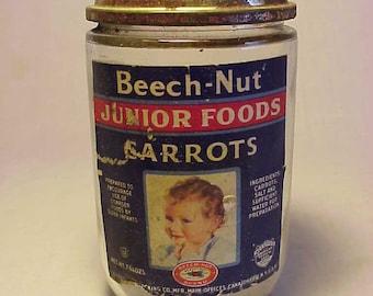 c1950s Beech Nut Junior Foods Carrots Canajoharie, N.Y. , Labeled Baby Food Jar