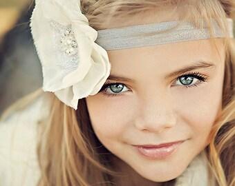 Baby Flower Headband- Wedding Headband- Flower Girl- Natural White Flower on Light Grey Elastic Band