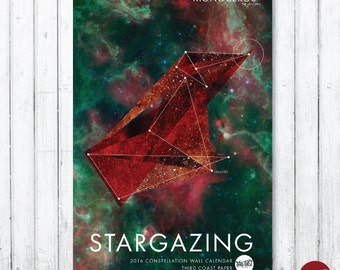 "2016 ""Stargazing"" Constellation Wall Calendar///SALE"
