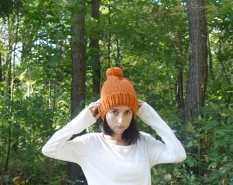 Chunky Knit Slouchy Hat with Pom Pom // Pumpkin //READY TO SHIP