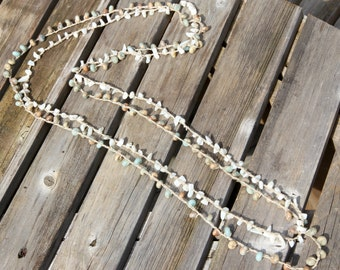 Double Strand Crocheted and Stone Necklace