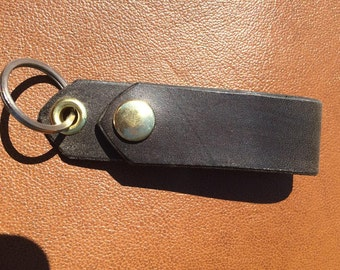Chocolate Black Horsehide Belt Fob with Brass hardware