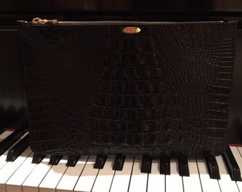 Black Croc. Pouch 7 1/2 x 11 inches -FREE SHIPPING