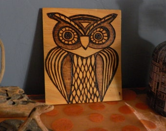 Pyrography Portrait of an OWL on cedar made to order tribal original design