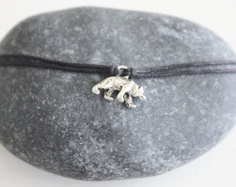 Bear Bracelet or Anklet in Silver, Grizzly Bear Bracelet, Wild Animal Jewelry, Bear Jewelry, Silver Bracelet, Animal Lover Jewelry, BFF Gift