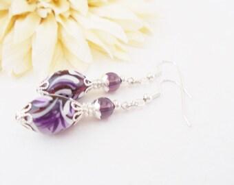 Purple Lampwork Earrings, Glass Drop Earrings, Mom Gift for Mother, Artisan Jewelry, Gift for Women, Girlfriend Jewelry, Romantic Earrings