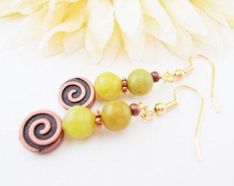 Bohemian Earrings, Green Jade Earrings, Dangle Earrings, Gift for Her, March Birthstone Jewelry, Birthday Gift for Sister, Boho Jewelry