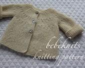 Bebeknits Modern European Baby Cardigan Knitting Pattern