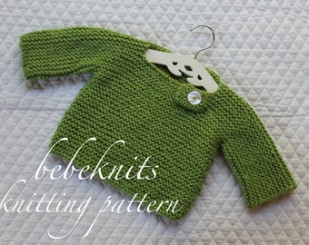 Bebeknits Simple French Style Buttoned Baby Pullover Knitting Pattern
