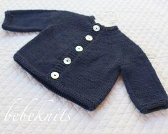 Hand Knit Soft Merino Navy Round Yoke Toddler Cardigan