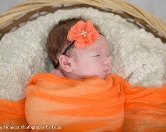 Black and Orange Headband, Baby Girl Headband, newborn headband, baby girl hair bows, Baby Headband, Infant Headband