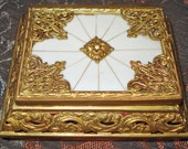 Antique Gold Tone & Faux Ivory Jewelry Box Made In Italy