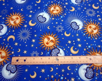Celestial Sol Suns and Moons on Blue premium cotton fabric from Quilting Treasures