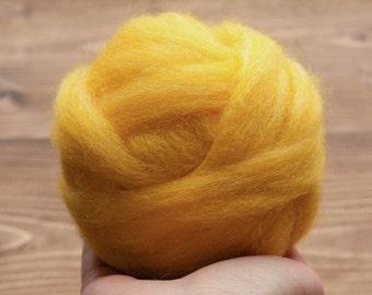 Wool Roving in Dandelion Yellow for Needle Felting, Wet Felting, Spinning, Dyed Felting Wool, Fiber Art Supplies