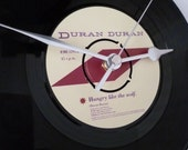 "Duran Duran Vinyl record clock Recycled Record Wall clock Gift for music lovers Man cave Bar Music room 7"" single 1980s pop Simon Le Bon"