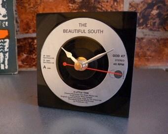 Beautiful South record Desk Clock 1990s Pop Music Vintage Vinyl Record Clock A Little Time 7 inch 45 rpm Gol Discs Silver Paul Heaton Hull