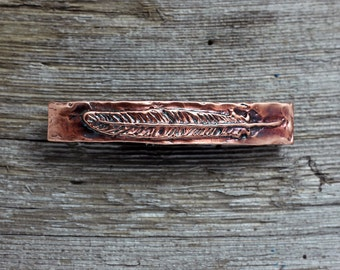 Copper Feather hair barrette