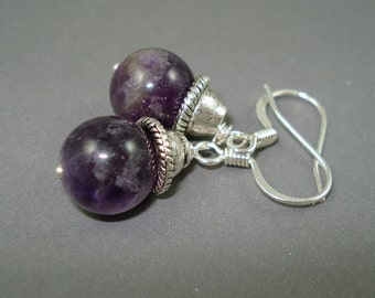 Amethyst Earrings on Silver Plated French Wires Handmade Earrings